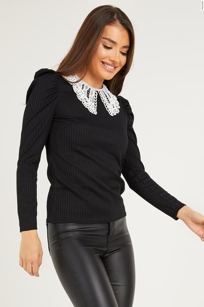 Black Ribbed Crochet Collar Top